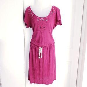 LOFT Drawstring Maroon  Dress  Medium